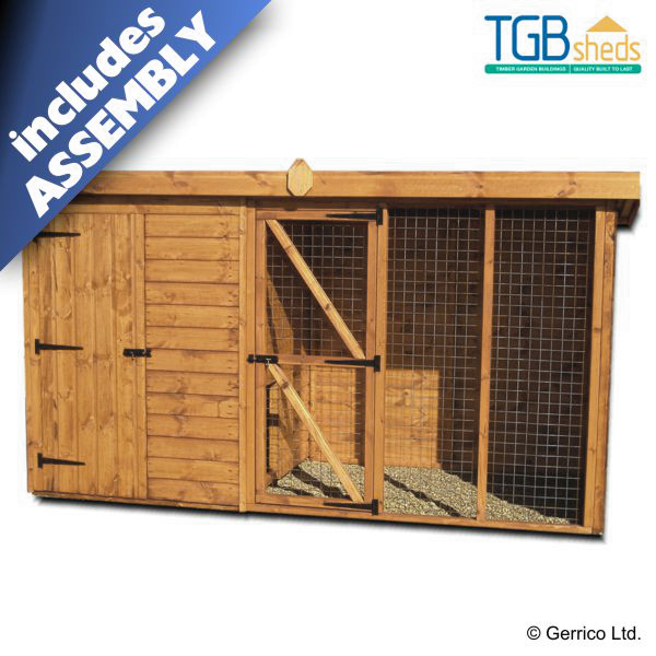 Tgb pent dog kennel and run assembled for Building a dog kennel business